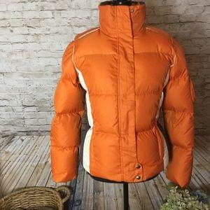 Tommy Hilfiger orange & grey puffer ski jacket